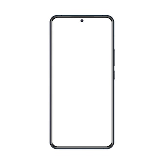 Phone mockup with black frame and white blank screen