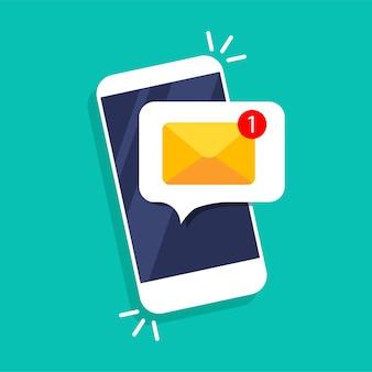 電話通知、新しいメッセージ。画面上の電子メール通知。吹き出しと封筒付きのスマートフォン