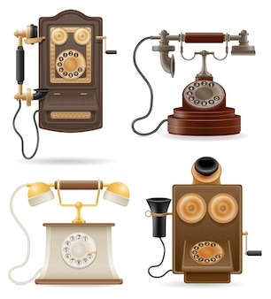 Phone old retro set vector illustration