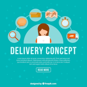 Phone operator and delivery elements Free Vector