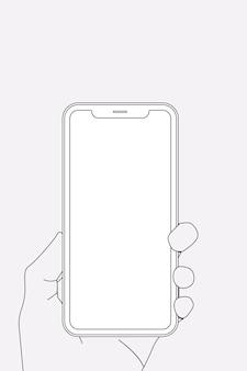 電話の概要、空白の画面、手持ち、デジタルデバイスのベクトル図