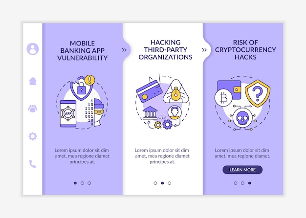 Phone password hacking threat onboarding app mobile template
