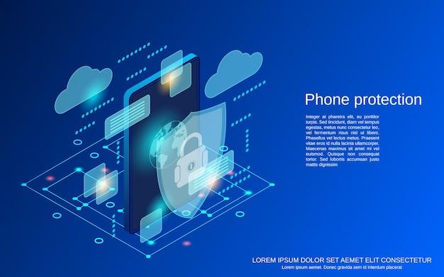 Защита телефона плоская 3d изометрическая векторная иллюстрация концепции