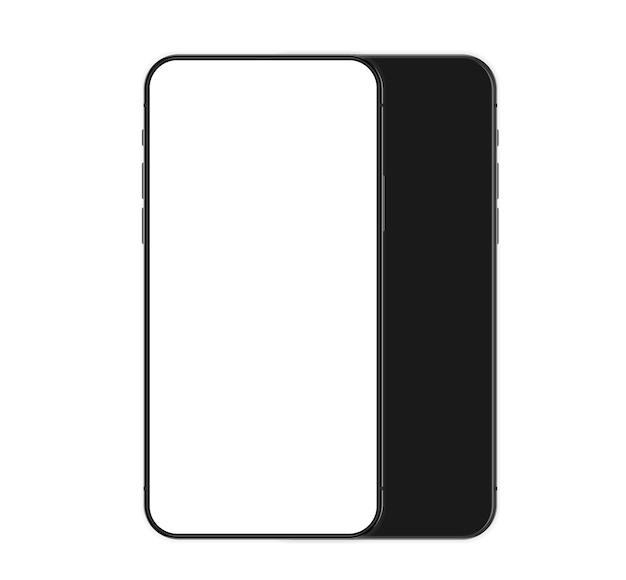 Телефон реалистично с пустым белым экраном. современный шаблон сотовых телефонов