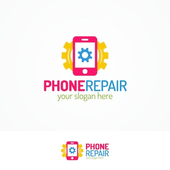 Phone repair logo set with silhouette phone and gear flat color style can