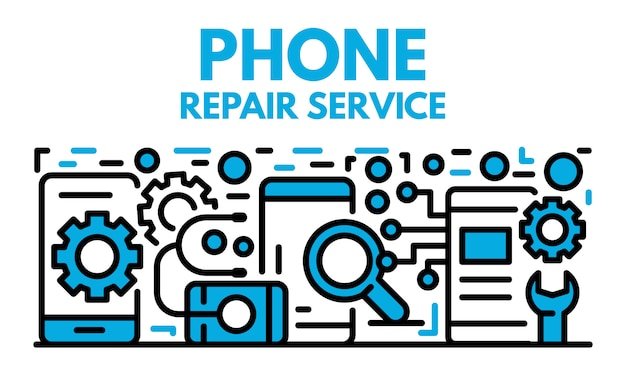 Phone repair service banner, outline style