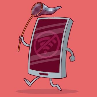 Телефон работает, пытается поймать сигнал wi-fi. подключено, интернет, социальные сети, мобильный телефон, смартфон, концепция будущего дизайна