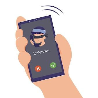 전화 사기 및 부정 행위, 피싱. 도둑이나 사기꾼이 개인 스마트폰으로 전화를 걸어 사람에게서 정보를 얻고 돈을 훔치는 그림. 알 수 없는 수신 전화가 위험합니다.