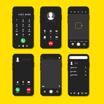 Phone screen interface set with calls and camera