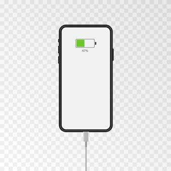 휴대폰 화면 목업 휴대폰에 충전기 연결하기 Chromakey 4k 동영상 충전하기 프리미엄 벡터