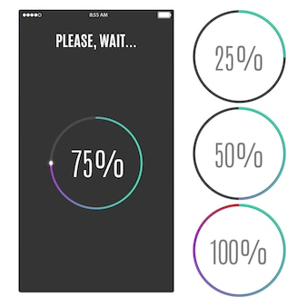 Phone screen with loading percentage marks icons progress bar