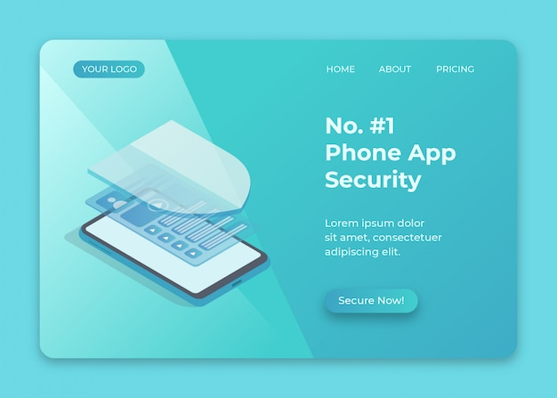 Phone security with shield isometric illustration for anti malware app