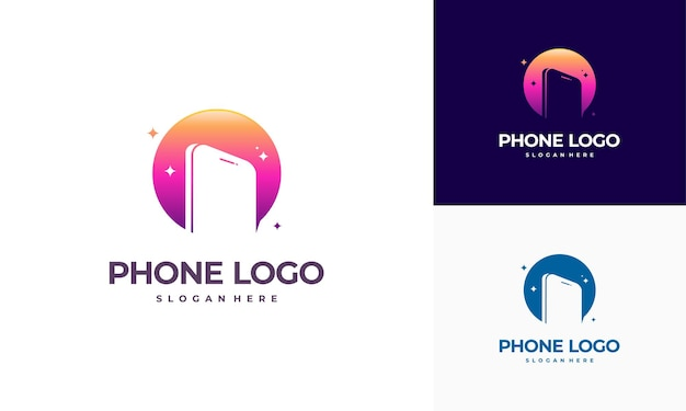 Phone shop logo template and business cards Premium Vector