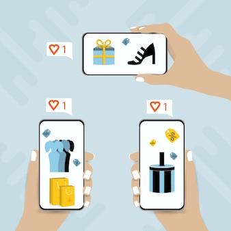 전화 쇼핑 온라인 개념입니다. 소셜 미디어 marketig 페이지 일러스트와 함께 스마트 폰을 들고 손. 온라인 웹 구매 의류, 마케팅 구매.