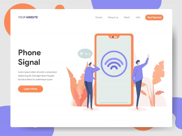 Phone signal banner of landing page