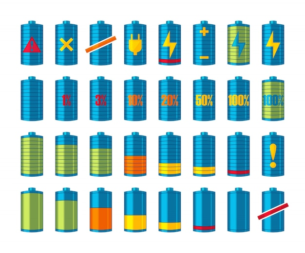 Phone or smartphone battery icons with various charges from fully charged to empty.  on the white background.  illustration.