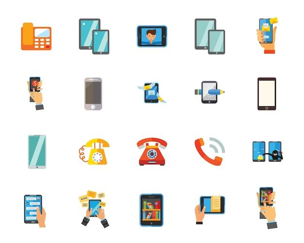 Phone and smartphone icon set