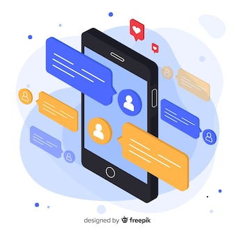 Phone surrounded by messages in isometric style