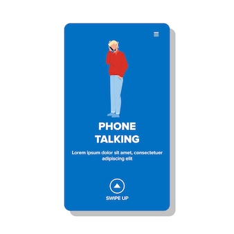 Phone talking man with friends or family vector. businessman have phone talking communication and discussion. character contact with subscriber on wireless device web flat cartoon illustration