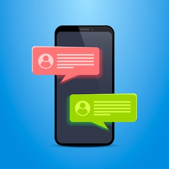Phone text message chat frame. vector illustration