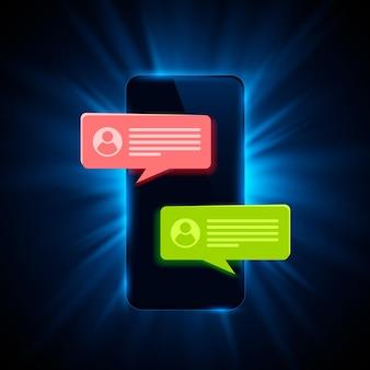Рамка чата текстового сообщения телефона. векторная иллюстрация