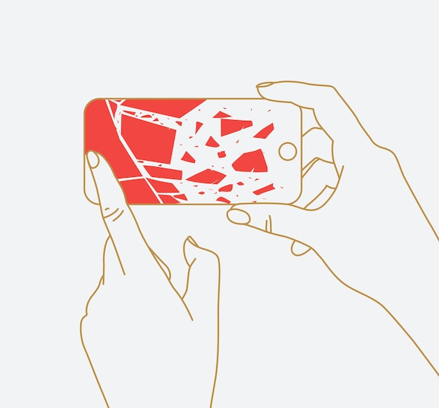 Phone in two hands with broken scattering glass drawing thin lines on white background