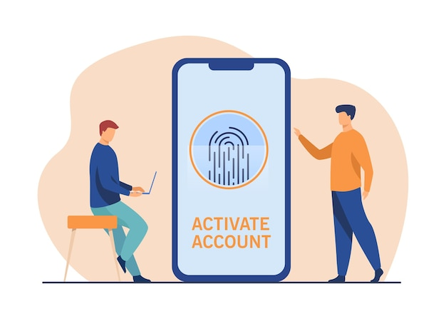 Phone user activating account with fingerprint. smartphone screen, biometric identity