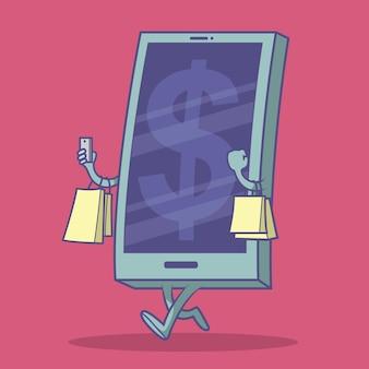 ショッピングバッグのイラストで歩く電話。 eコマース、オンラインショッピング、お金のデザインコンセプト
