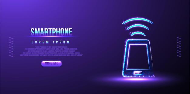 電話、wifi多角形低ポリワイヤーフレーム背景