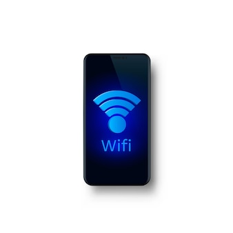 Phone wifi screen, object electronics. vector illustration