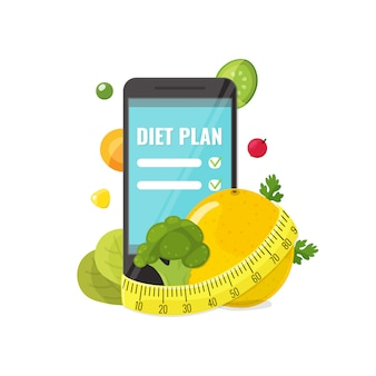 Phone with app of diet plan, vegetables and measuring tape