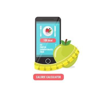 Телефон с приложением счетчика калорий, яблоко и рулетка.