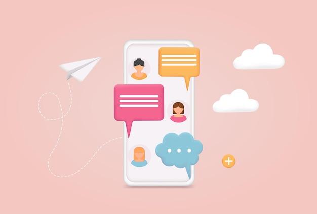 Телефон с чатом sms на экране мобильного телефона обмен сообщениями с помощью приложения чата или социальной сети 3d web