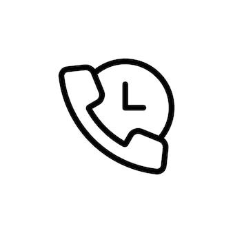 시계 아이콘이 있는 전화. 논스톱 콜 서비스, 24 7 지원. 벡터 eps 10입니다. 흰색 배경에 고립.
