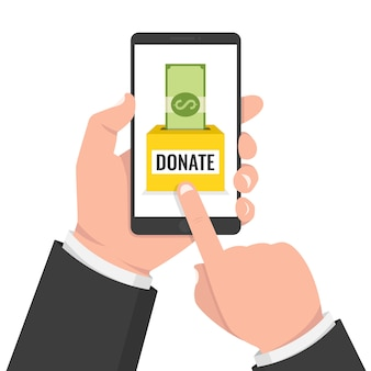 Phone with dollar money and donate box