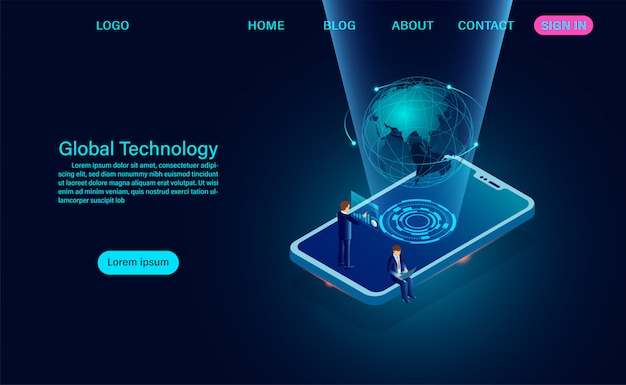 Phone with global network. internet connection and global communication concept landing page