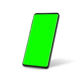 緑色の画面のクロマキーの背景を持つ電話。あなたのデザインのテンプレート