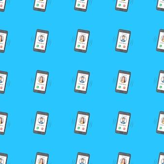 青い背景に着信のシームレスなパターンを持つ電話。電話のテーマのベクトル図