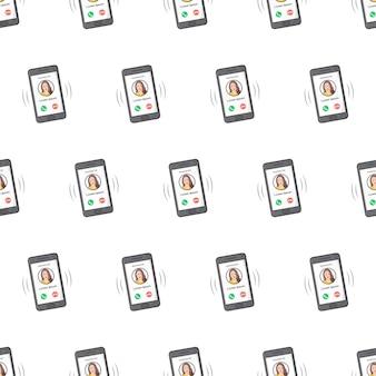 白い背景の上の着信のシームレスなパターンを持つ電話。電話のテーマのベクトル図
