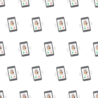 Phone with incoming call seamless pattern on a white background. phone call theme vector illustration