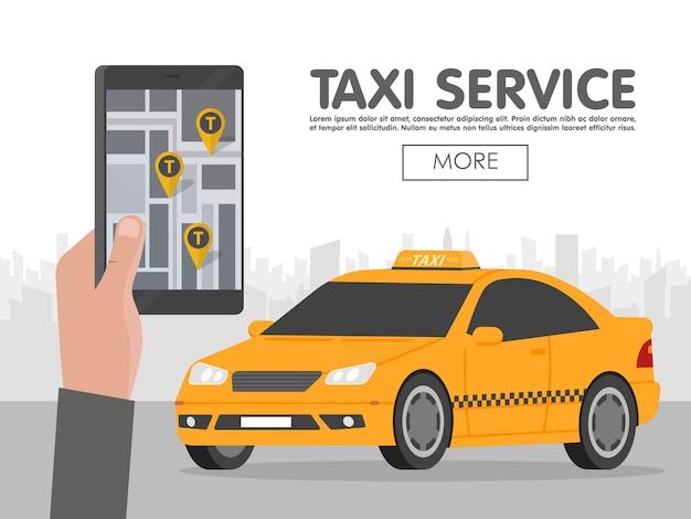 Телефон с интерфейсом такси на экране шаблона