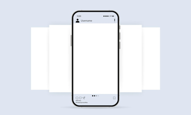 Phone with social media mockup icon. photo carousel template. blogging concept. vector eps 10. isolated on white background.