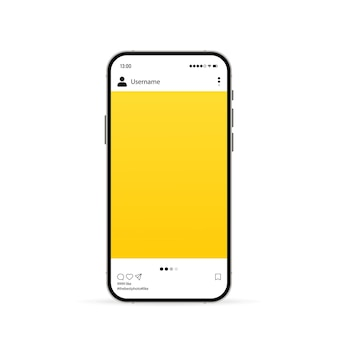 Phone with social media mockup icon. photo carousel template. vector eps 10. isolated on white background.