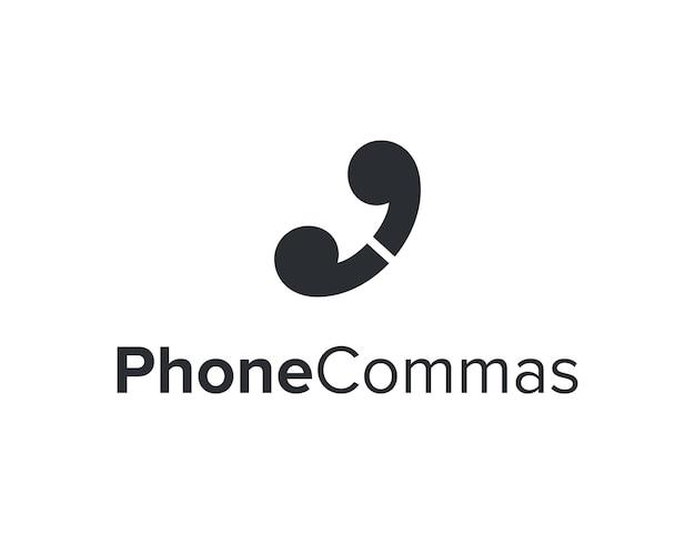 Phone with two commas simple sleek creative geometric modern logo design