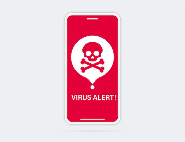 Phone with warning virus alert alarm on screen. malware notification on smartphone. security mobile concept, security risk. broken smartphone with virus alert on the screen