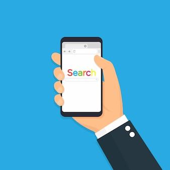Телефон с открытым браузером. телефон с браузером и панелью поиска.
