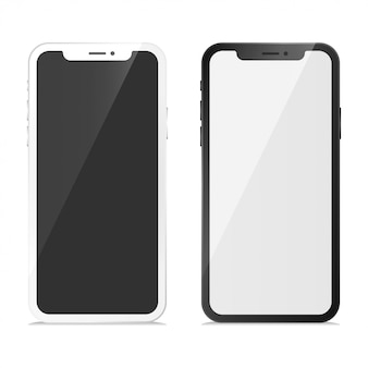 Phone x set mockup vector