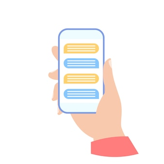 Phone in your hand. chat bubble