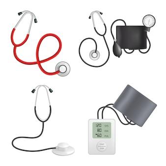 Phonendoscope device mockup set. realistic illustration of 4 phonendoscope device mockups for web