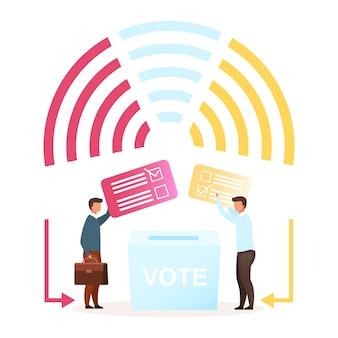 選挙フラットベクトルイラスト。政治システムの比phor。大統領、議会を選択します。新しいリーダーへの投票。当事者間の対立。民主主義の行為。有権者の漫画のキャラクター